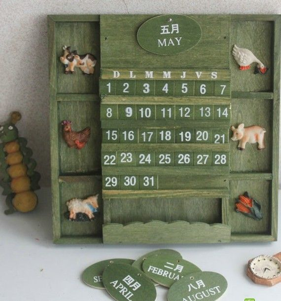 New arrive!!2015 perpetual DIY wooden calendar creative vintage - how to make a perpetual calendar