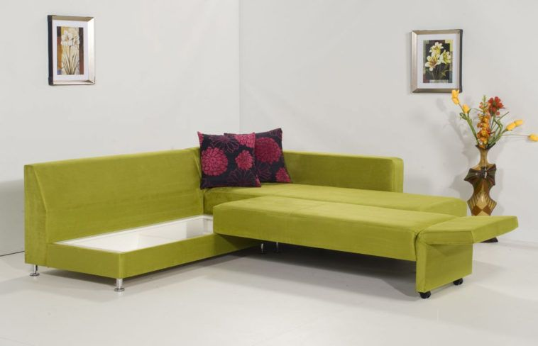 Green Velvet Convertible Sectional Sleeper Sofa With Hidden Storage On White Ceramic Tiled Floor As Well Bed Also Beds