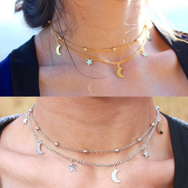 f174e97c89bc Lindo Luna Estrellas Granos de Los Encantos Románticos Collares de Cadena  Doble Cadena de Oro de