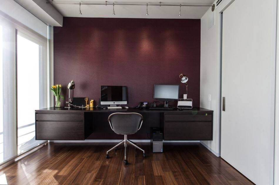 an accent wall is a simple way to define a home office on office accent wall color id=14156