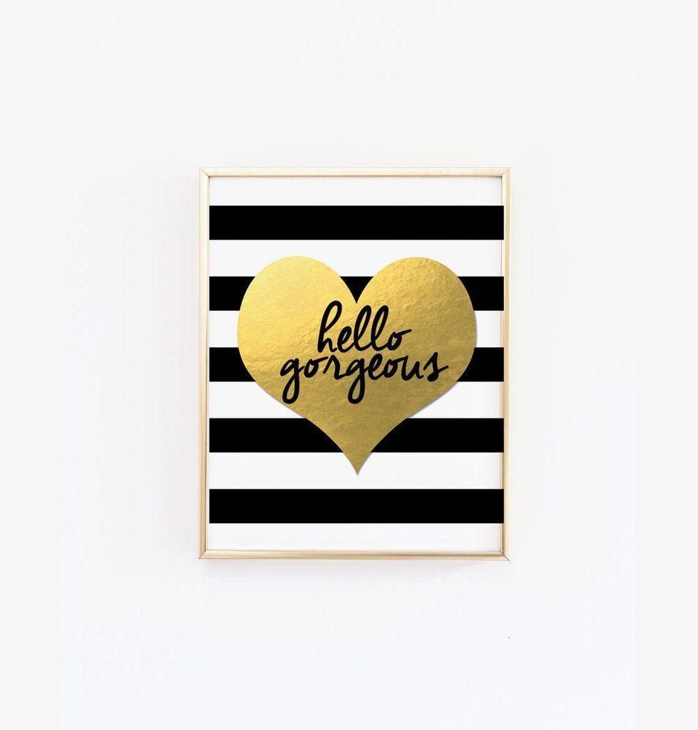 Hello gorgeous print black and white stripes wall art striped