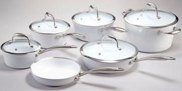 Lagostina Bianco Forged 11 Piece Ceramic Non Stick Cookware Set 16cm Saucepan With Cover 1 3 L 18cm Saucepan With Cover Ceramic Bakeware Lagostina Ceramics