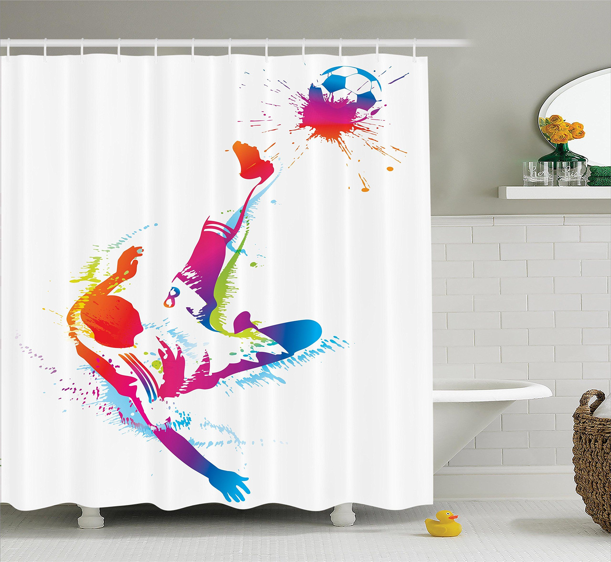 Sports Decor Shower Curtain Set By Ambesonne Soccer Man