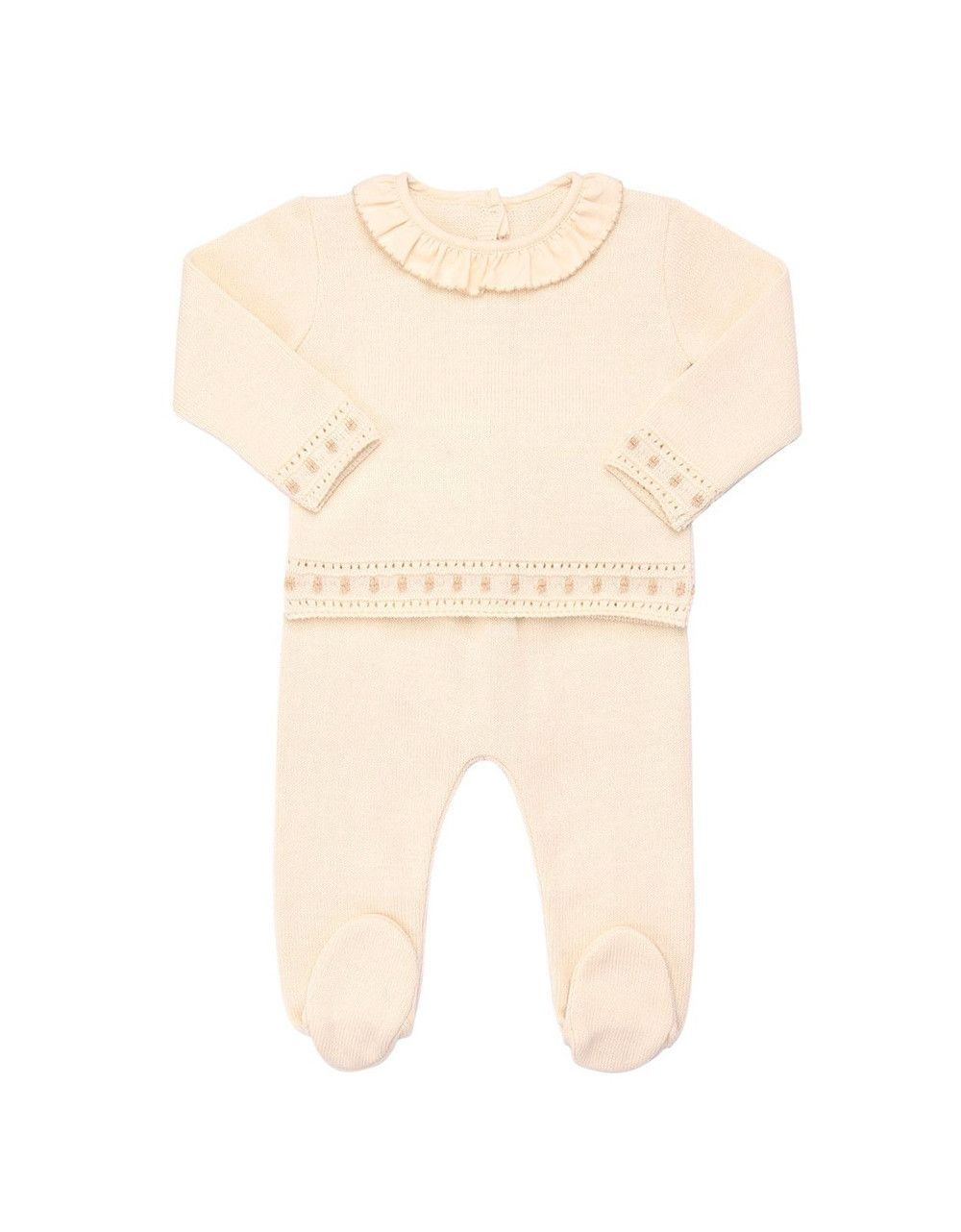f653cc66a604 NATURAPURA Two-piece Knitted Baby Set with ruffled Collar ...