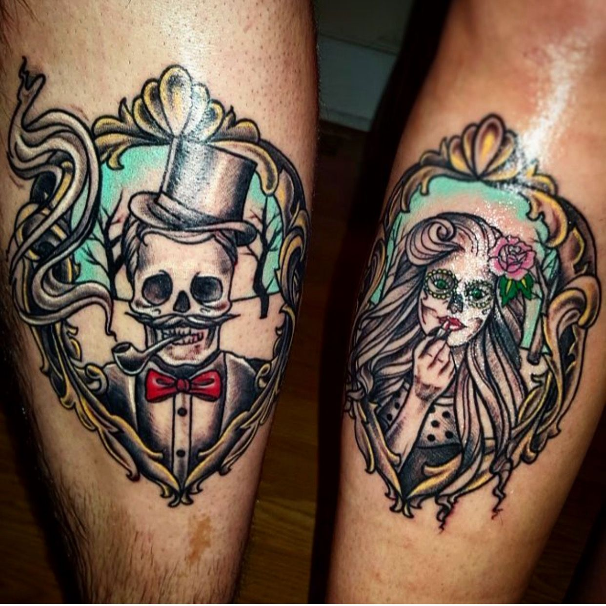 couples skeleton skull tattoos