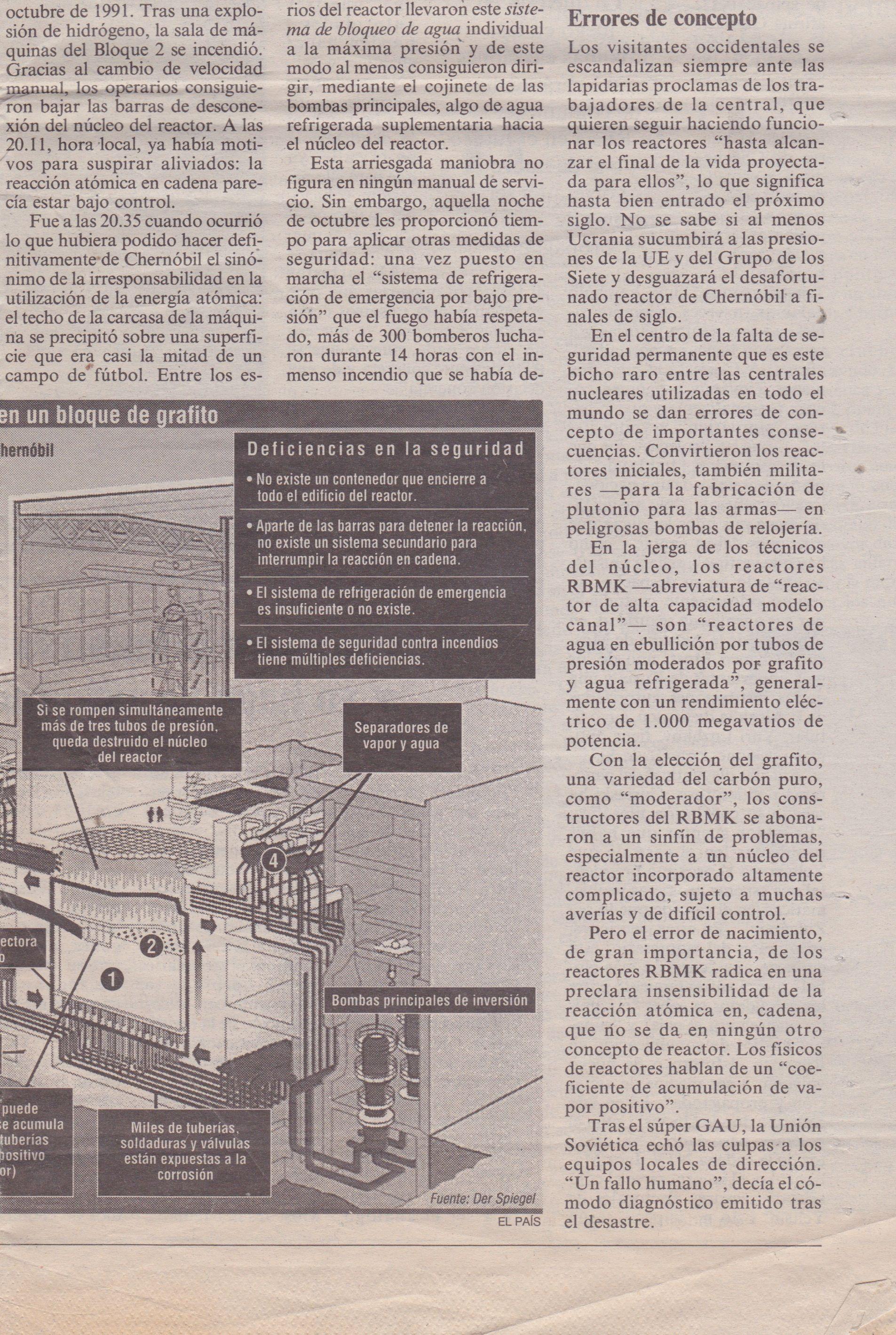 Diario EL PAÍS. Domingo 7 de abril de 1996. CHERNÓBIL - 10 años después de la catástrofe. Página 6 de 8.