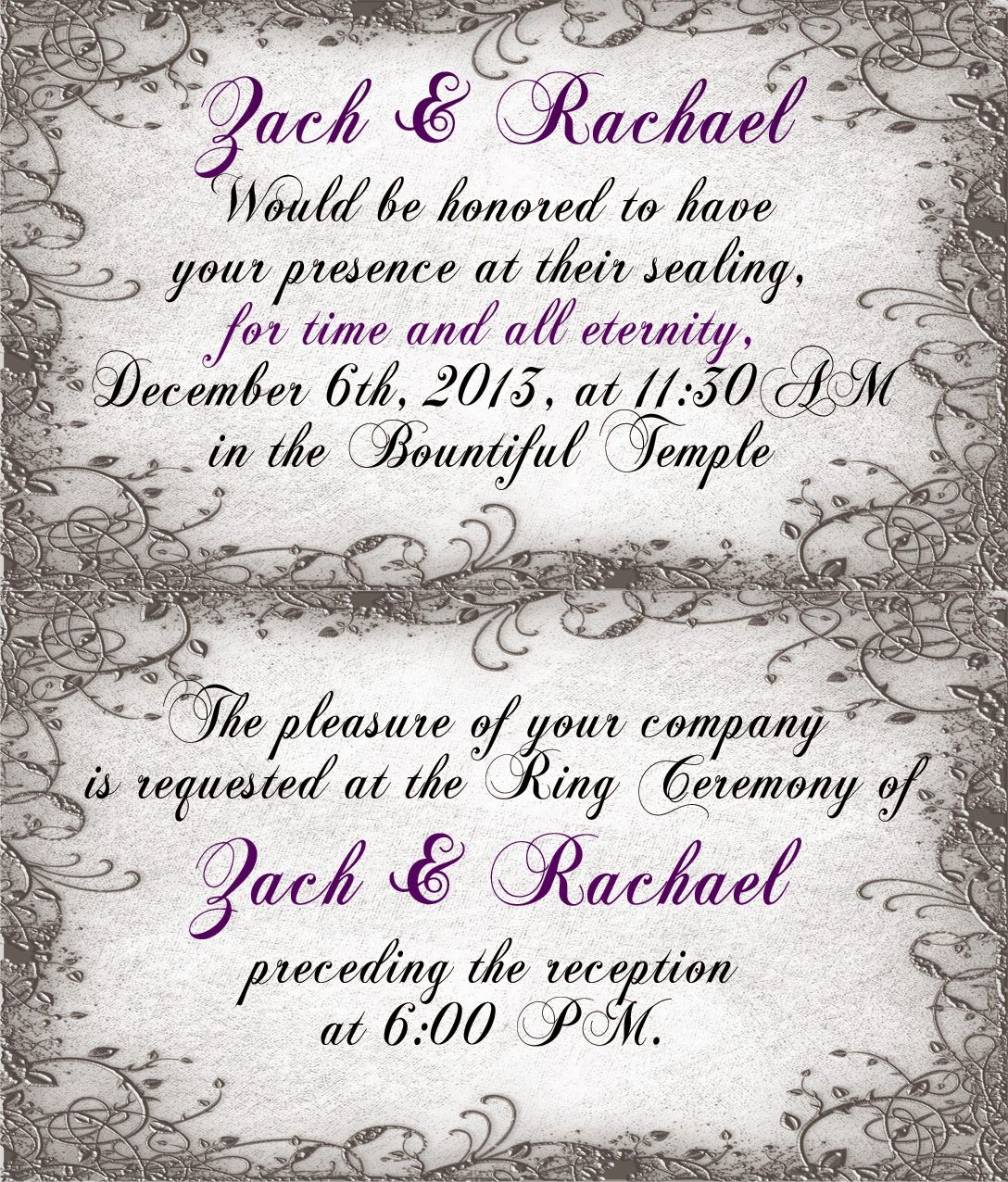 Wedding Announcement Ceremony Cards Lds Temple Ceremony