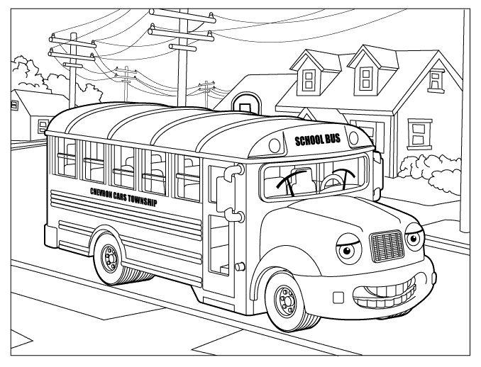 Plansa De Colorat Cu Un Autobuz Cars Coloring Pages Cartoon