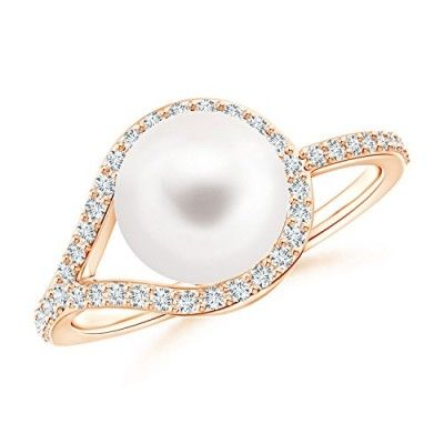 Angara Freshwater Cultured Pearl Ring with Floral Diamond Halo sxkI5AS