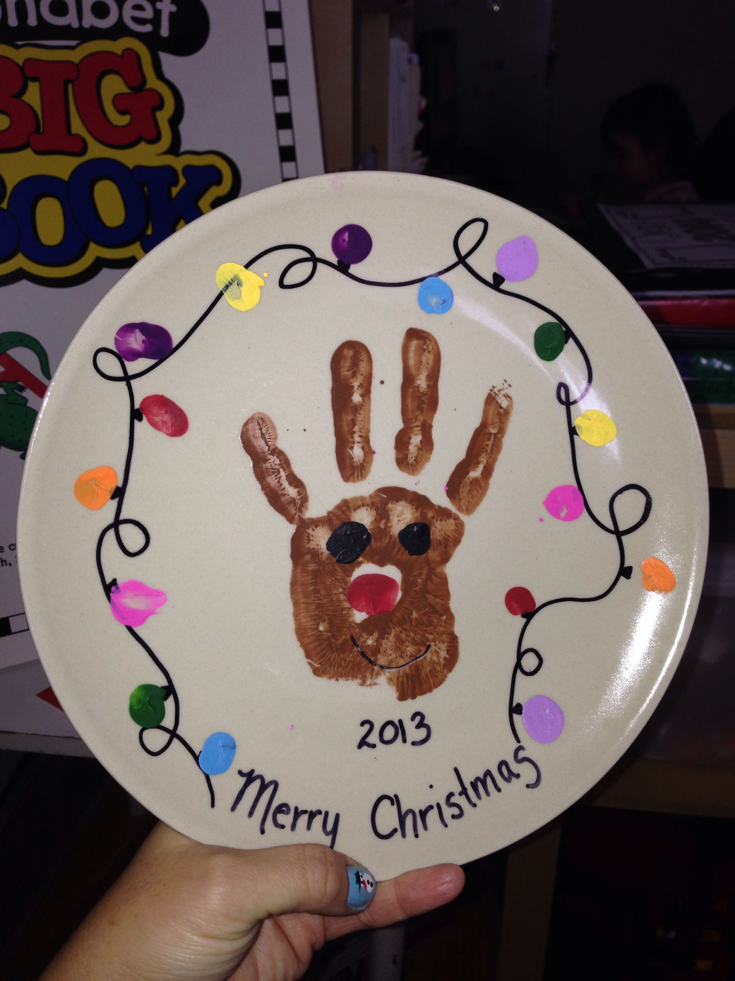 Reindeer Handprint With Christmas Lights On A Plate Great Christmas