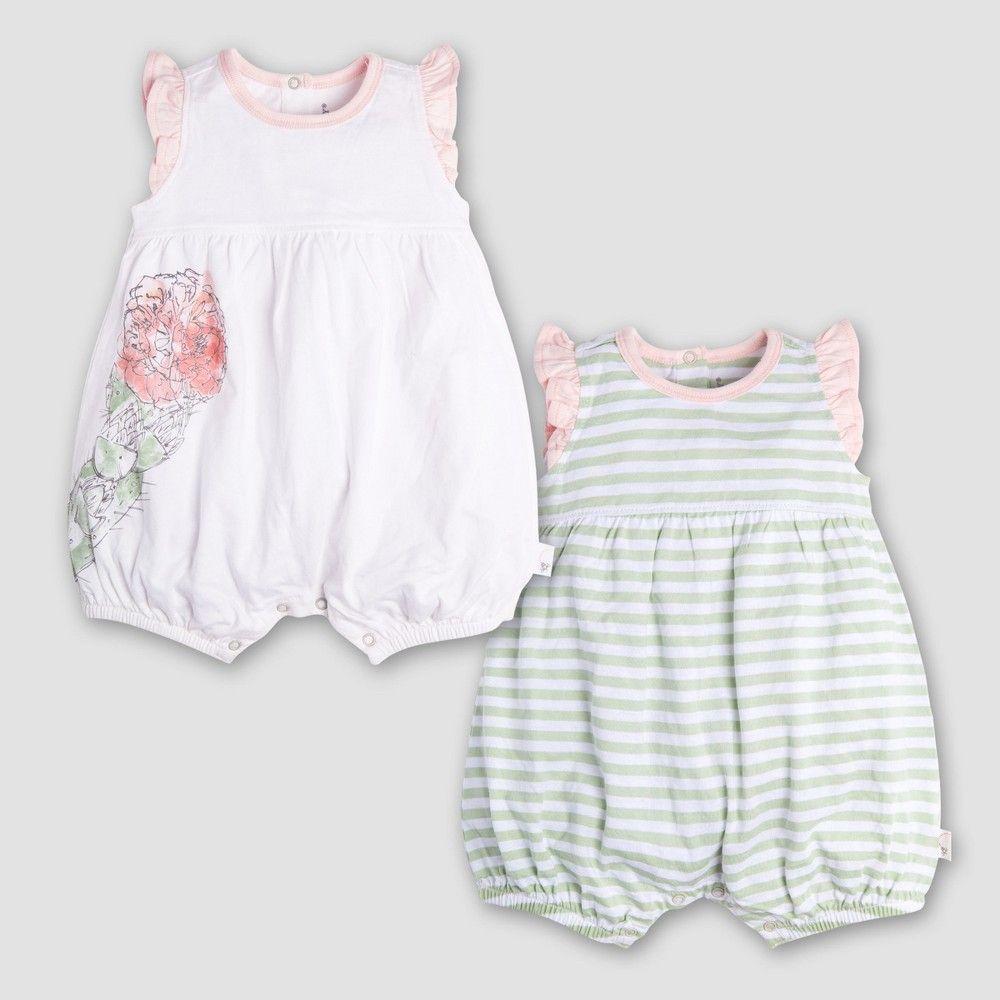 Burt s Bees Baby Girls  Organic Cotton 2pk Watercolor Bloom Shortalls -  Cloud 0-3M 6014343fb316