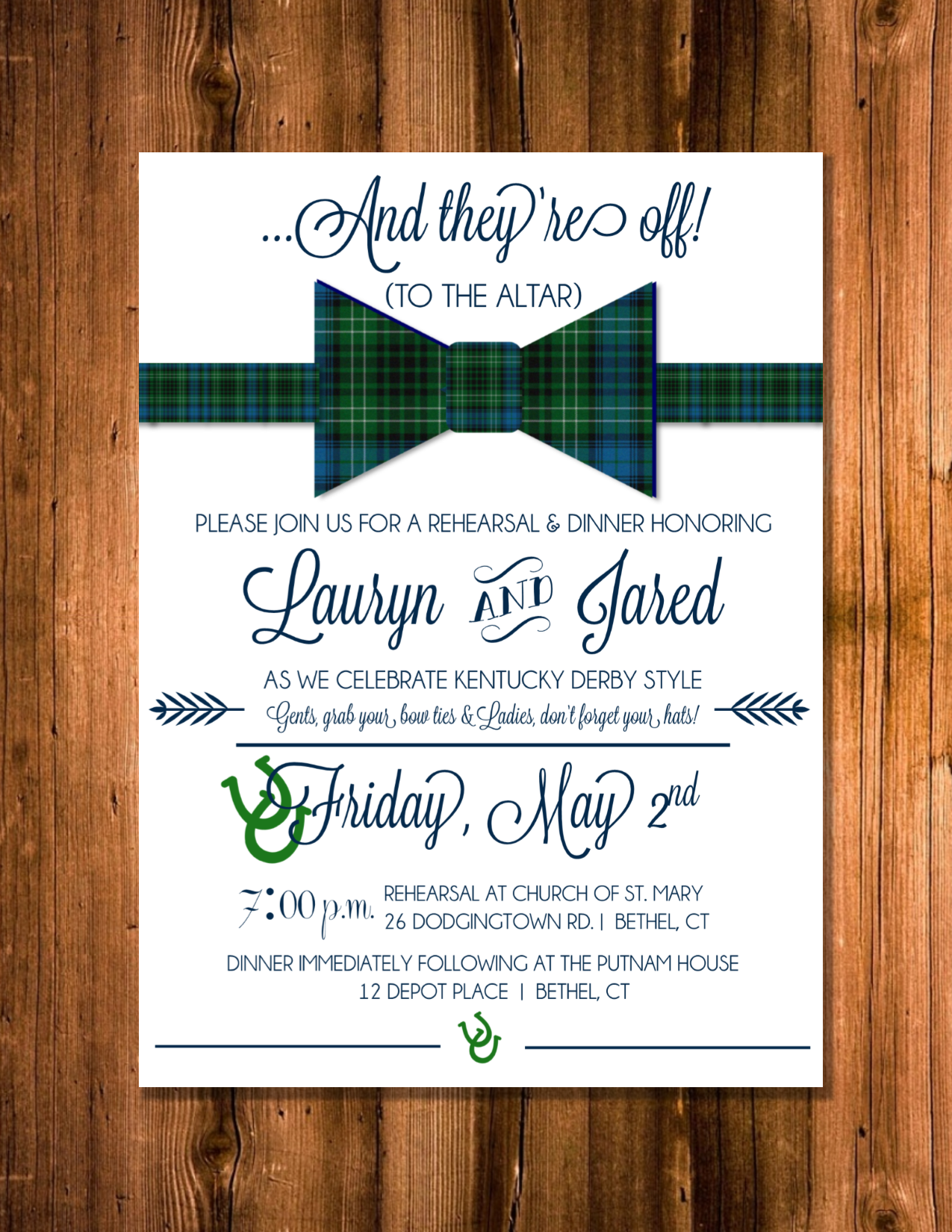 Kentucky Derby themed rehearsal dinner invitation by Wentroth ...