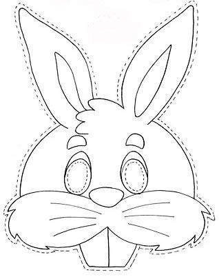 bunny head outline printable kartondan maske yapımı ve Örnekleri