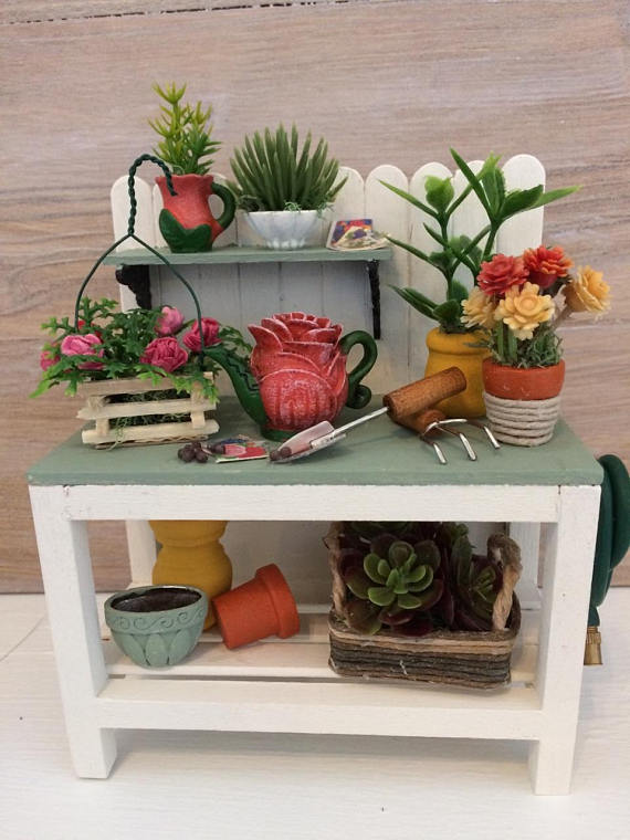 Super Dollhouse Miniature Potting Bench Miniature Gardening Ncnpc Chair Design For Home Ncnpcorg