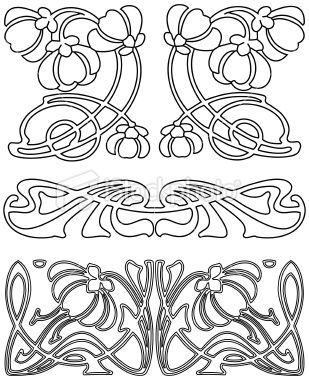 Bildresultat f r stencil art nouveau stencil love for Art nouveau shapes