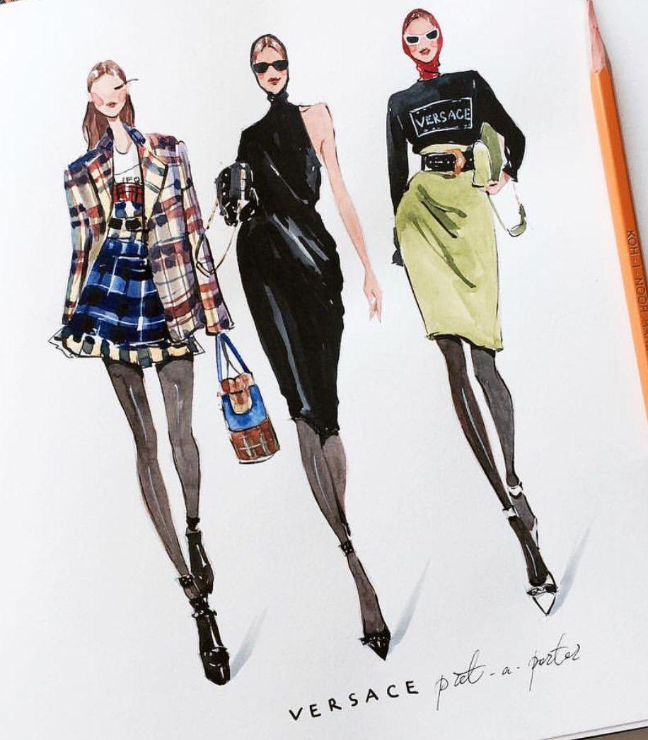 FEATURING: @marina_sidneva #Versace #Sketches #Fall #MzManerz #FashionIllustrati...