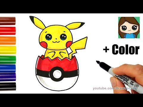 How To Draw Pikachu In Pokeball Easter Egg Youtube In 2019