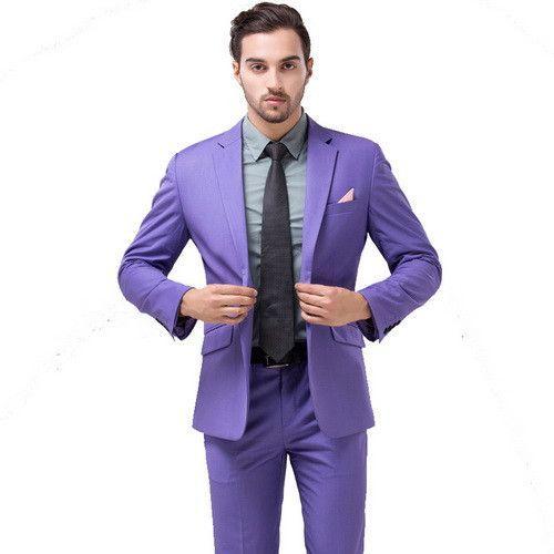 Men Green Party Suit Slim Fit New Fashion Purple and White Wedding Suit Men