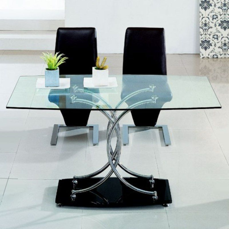 Contemporary And Modern Dining Tables Glass Top Stainless Steel