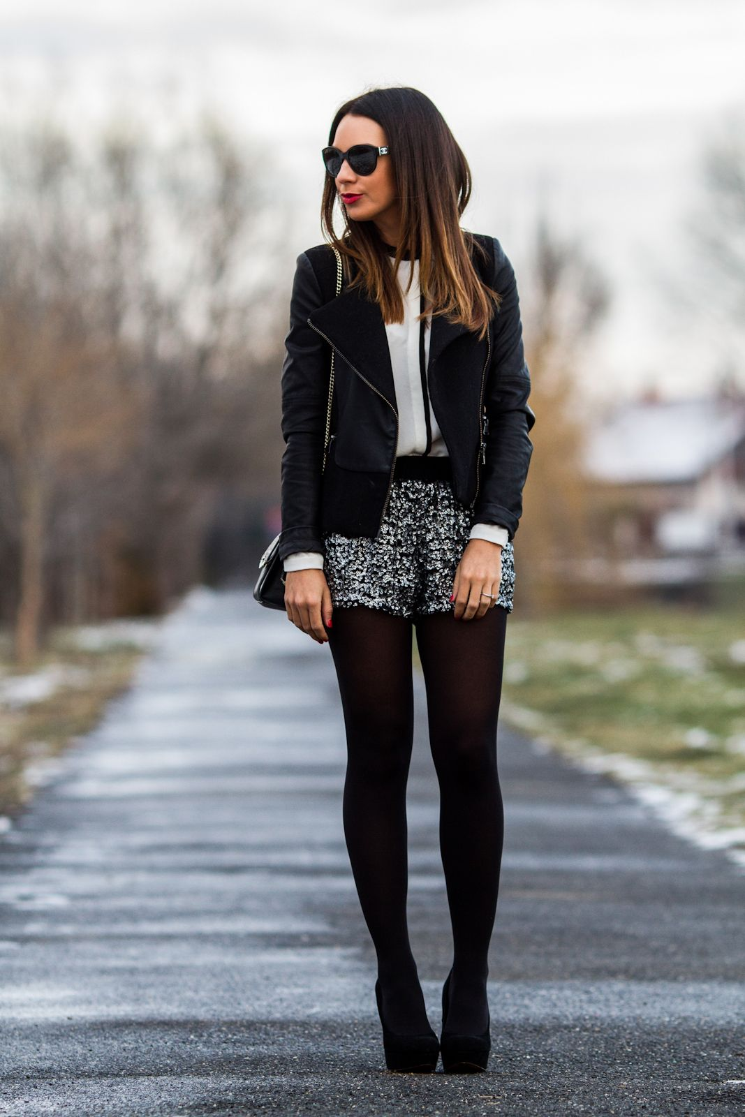 Black jacket white blosue sequin silver shorts black tights heels  streetfashion new years eve fashion