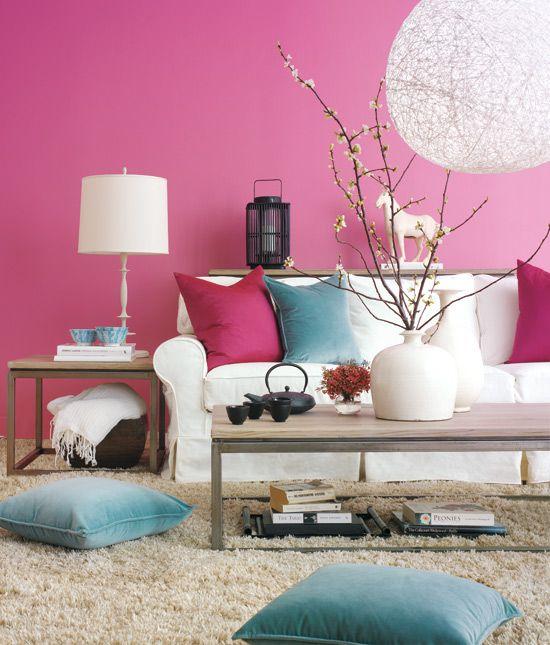 sala turquesa com decoração amarelo rosa - Pesquisa Google | Living ...