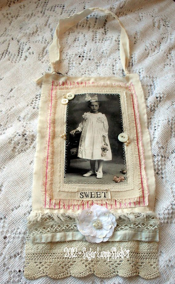 Sweet Rose Fabric Collage Hanger using antique by sugarlumpstudios, $16.95