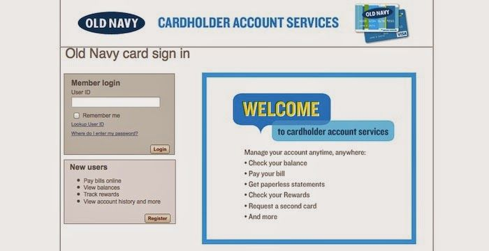 Oldnavycreditcard Old Navy Credit Card Login Cardholder Account Services Credit Card Accounting Paying Bills