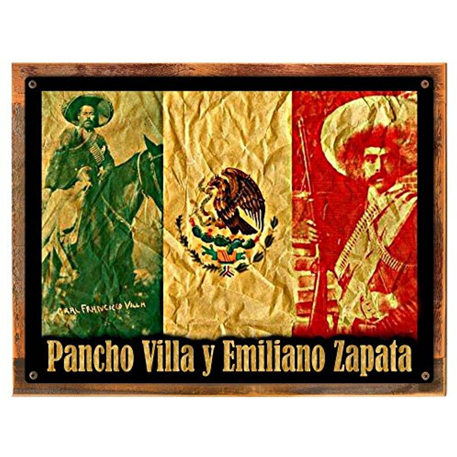 Wood-Framed Villa y Zapata Metal Sign: Hispanic and Religious Décor ...