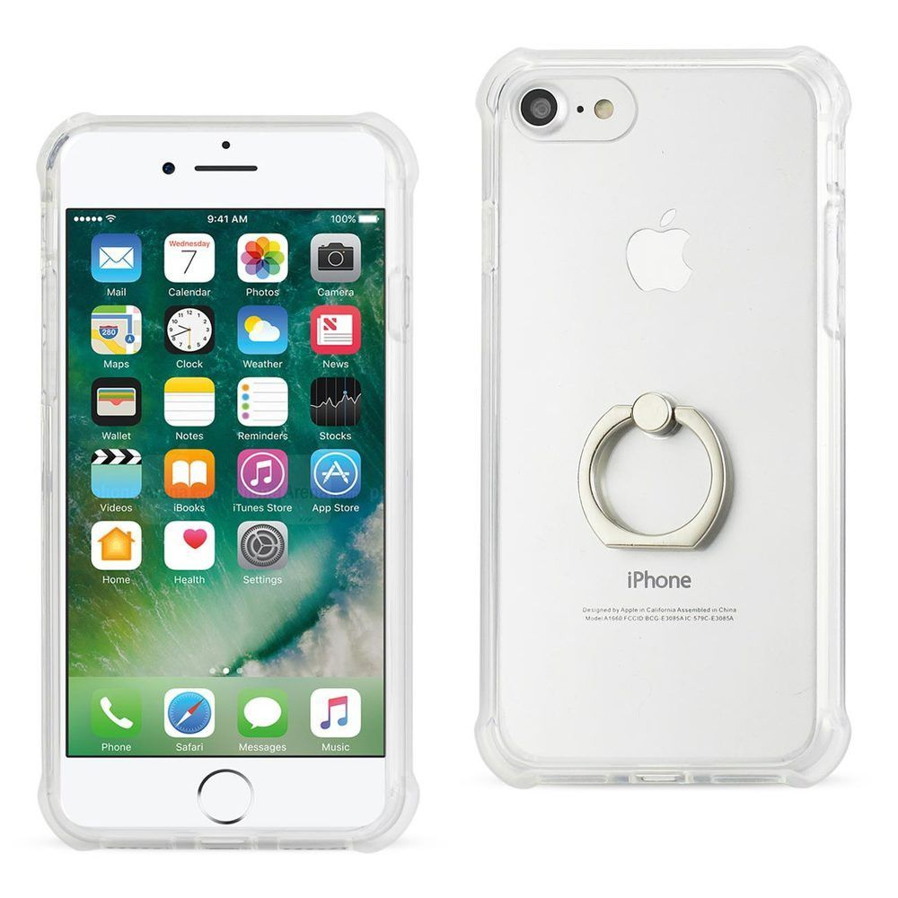 Reiko REIKO IPHONE 7 TRANSPARENT AIR CUSHION PROTECTOR BUMPER CASE WITH RING HOLDER IN CLEAR