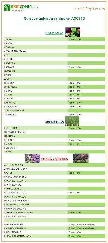 Guía de siembra mes de AGOSTO www.elangreen.com
