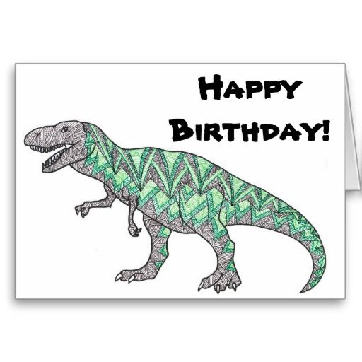 T Rex Says Happy Birthday Dinosaur Card