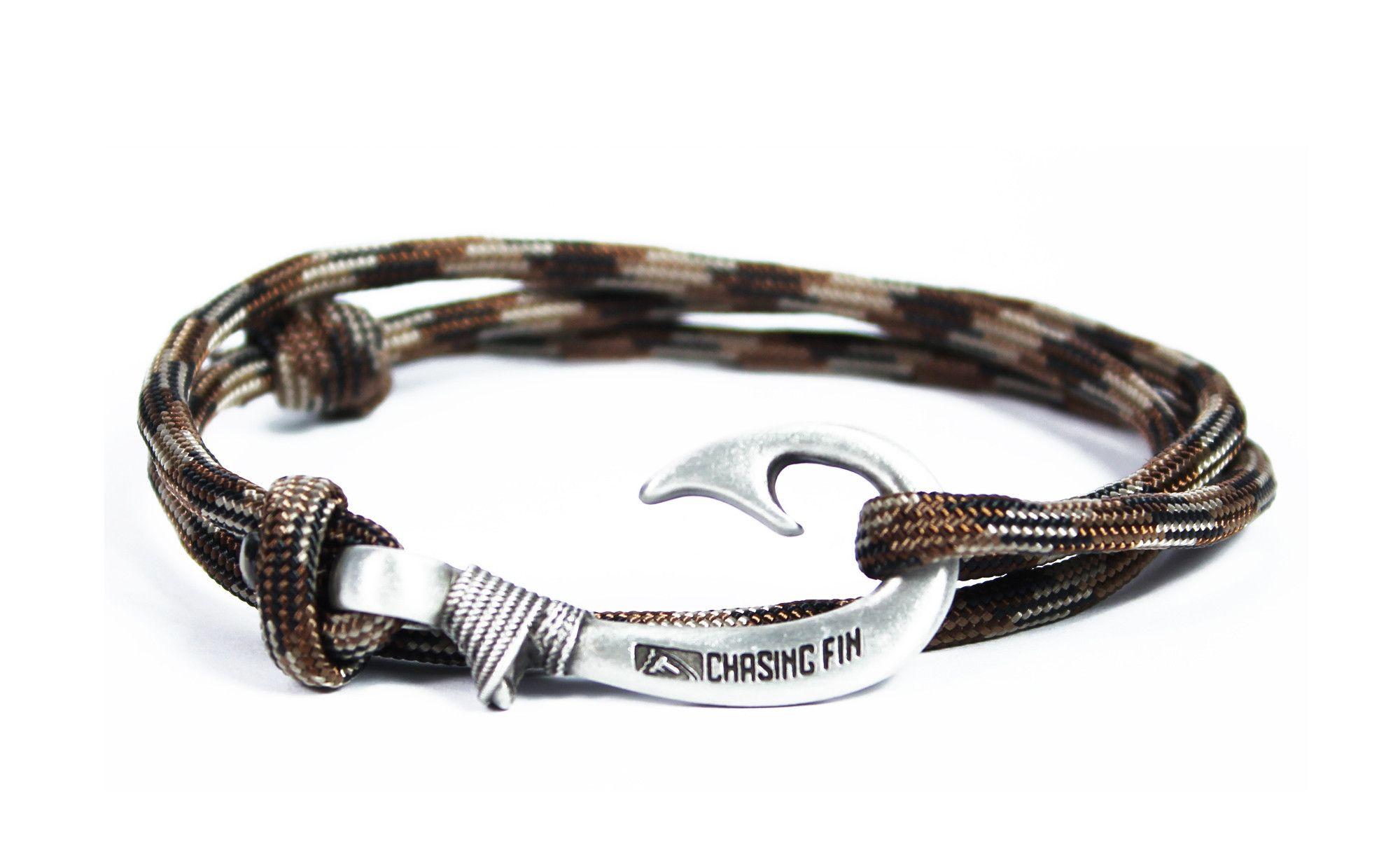 Brown Camo Fish Hook Bracelet