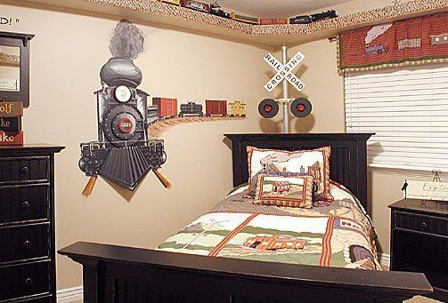 A train themed room fit for a child's Imagination, complete with working railroad signal. www.trainsignals.com