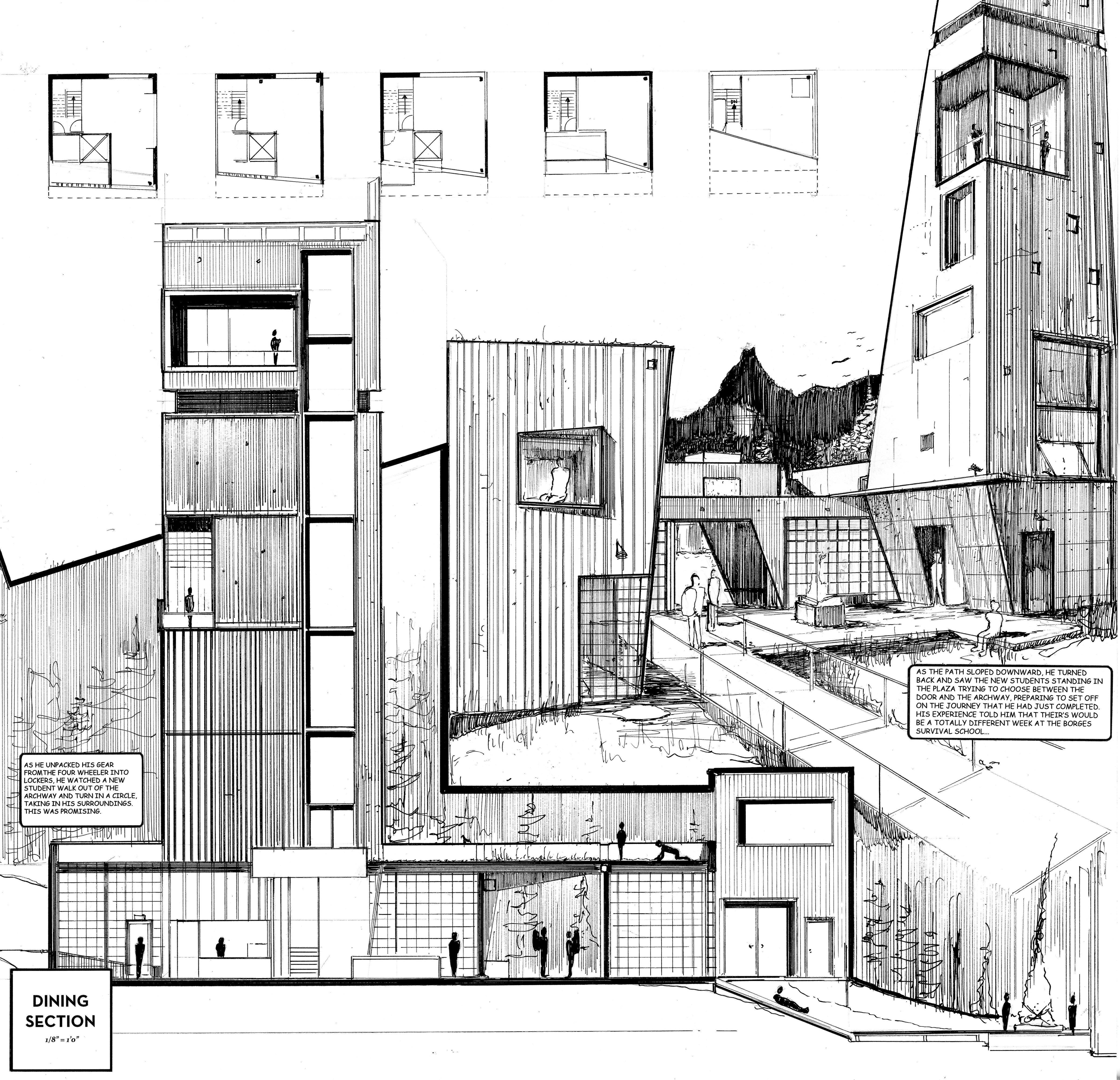 Survival school ink on bristol board hand drawings pinterest architektur architektur - Architektur skizzen zeichnen ...