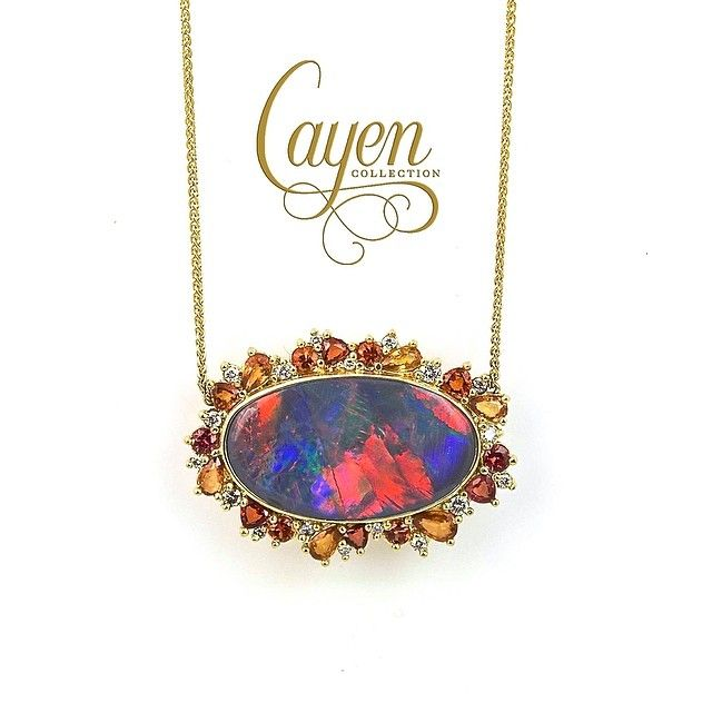 Opal, Gemstone and Gold Necklace by @cayencollection