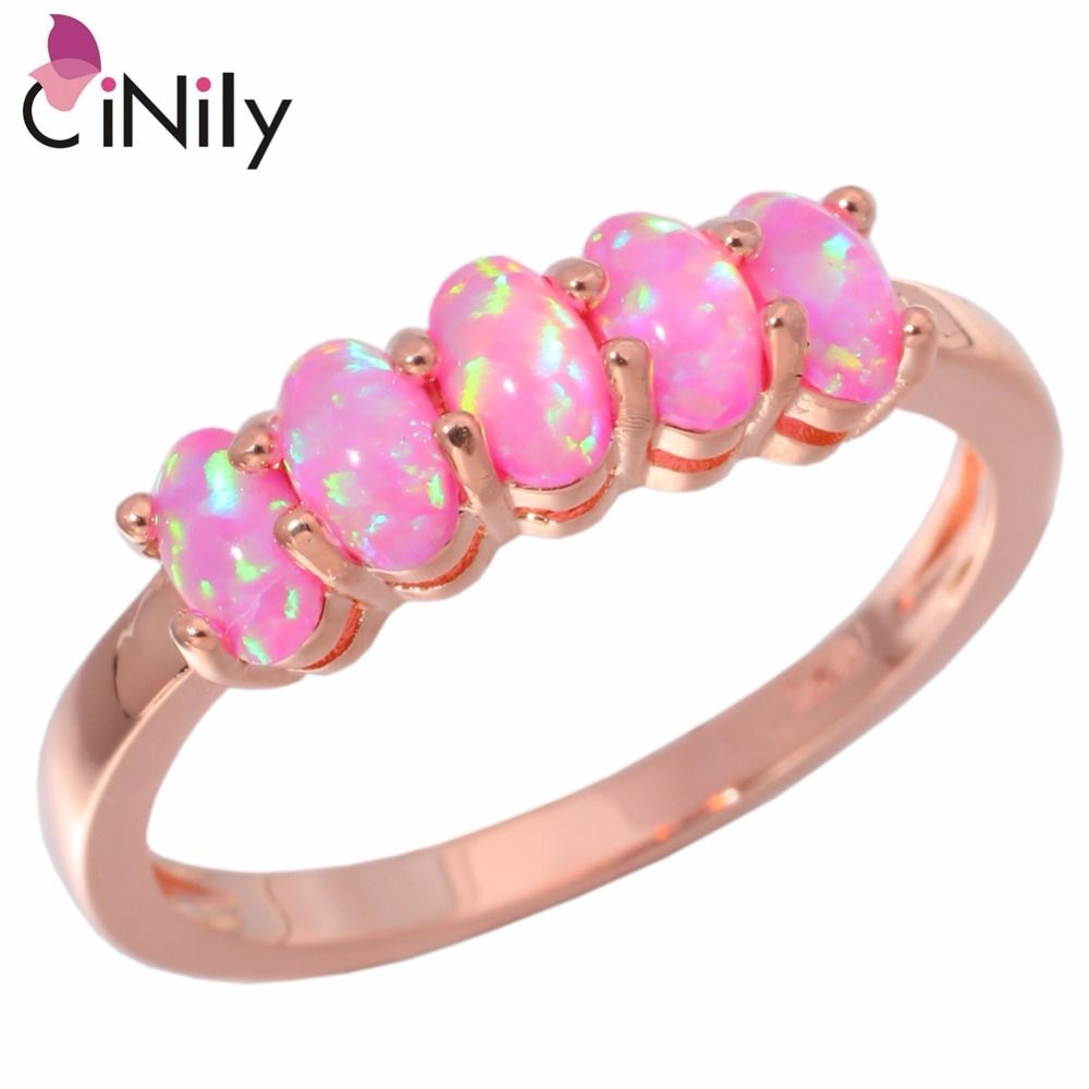 CiNily Created Pink Fire Opal Rose Gold Color Wholesale Hot Sell ...