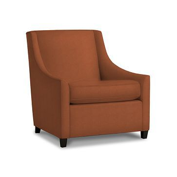 Sweep Arm Chair:Poly:Herringbone Faux Sue:Paprika ...