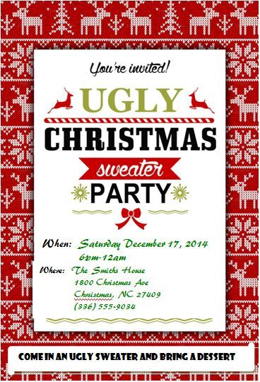 Ugly Christmas Sweater Party Invitations Free Downloads Xmas