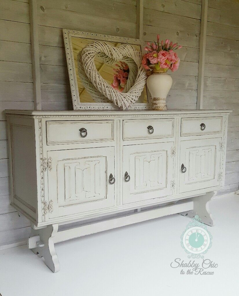 Shabby Chic upcycled painted oak sideboard transformed with Annie