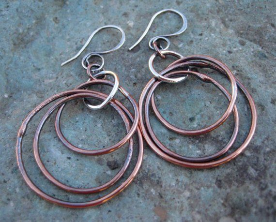 a290e2ced Autumn Handmade Pure Copper n Sterling Silver by ArtandSoulJewelry Sterling  Silver Hoops, Silver Hoop Earrings