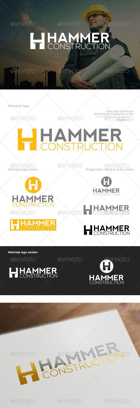 Nail & Hammer Construction Company Logo Construction