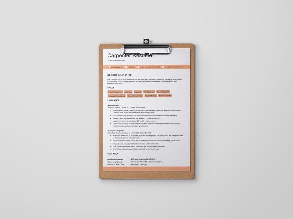 Free carpenter resume template resume freeresume