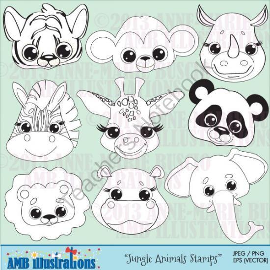 Teachers Notebook Digital Stamps Jungle Animals Animal Clipart