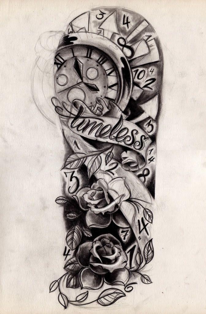 Timeless Tattoo With Clock Half Sleeve Tattoos Drawings Tattoo Sleeve Designs Sleeve Tattoos