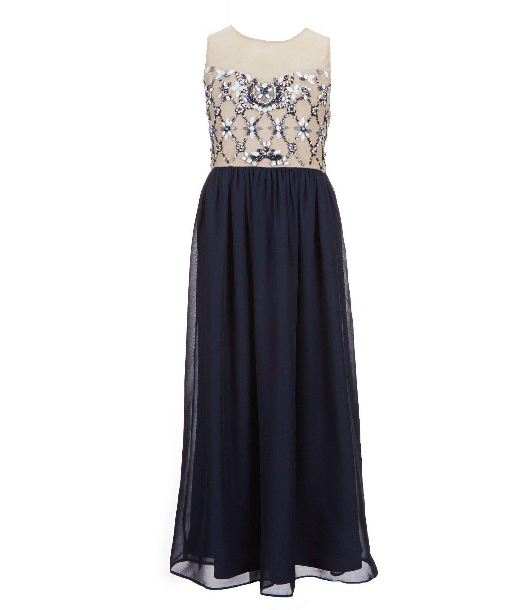 178c6a180f6 Tween Diva Big Girls 7-16 Rhinestone Chiffon Dress