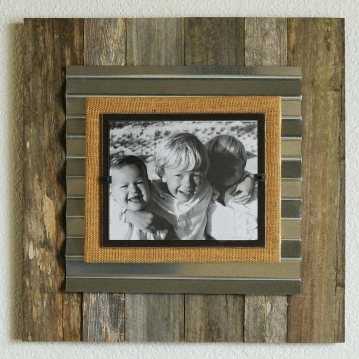 Reclaimed Wood Corrugated Frames Reclaimed Wood Frames Wood Picture Frames Framed Burlap