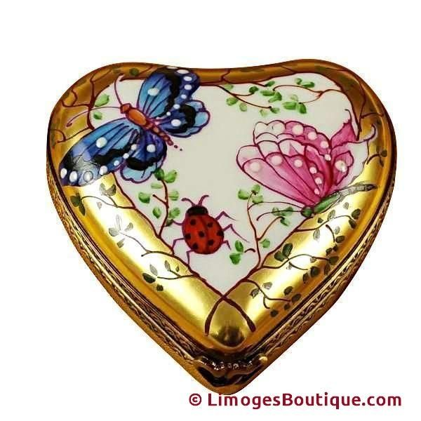 ring bearrer Limoges heart box,Hand painted vintage french heart box,ade in France, jewellery satchel heart shaped box ring box