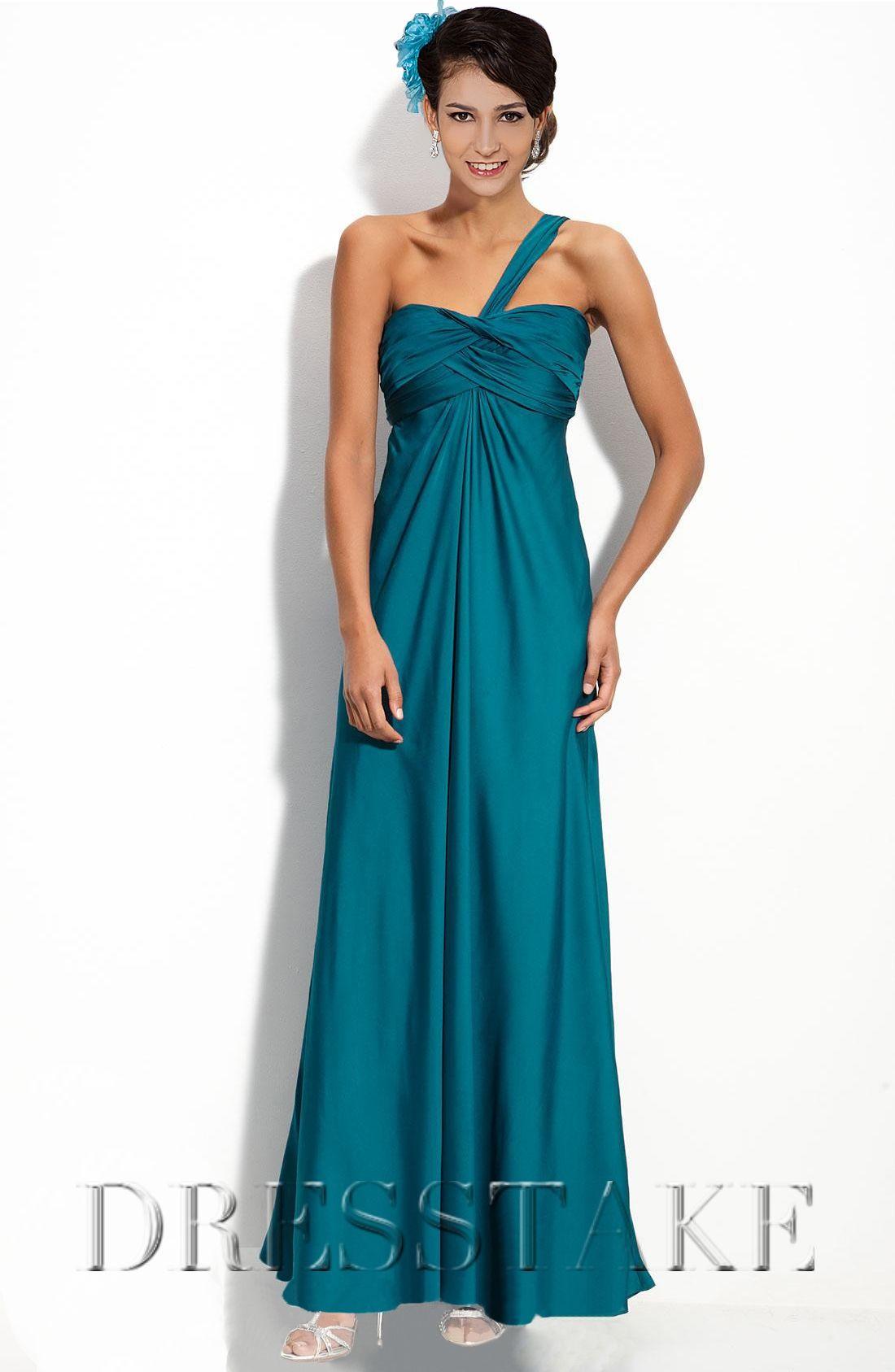 A-line One Shoulder Ankle-length Silk Like Satin Blue Bridesmaid ...