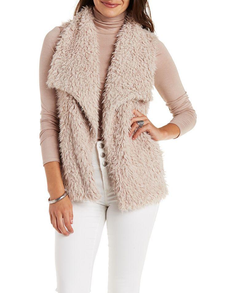 Faux Fur Vest by Charlotte Russe - Pale Blush