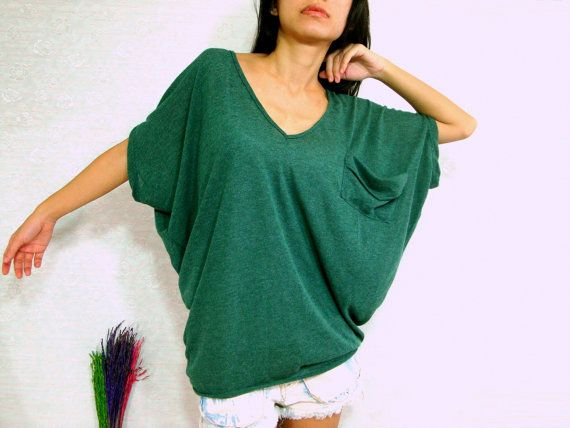 Forest Dark Green Women Blouse - Oversized Tee / Cozy Comfy Tee ...